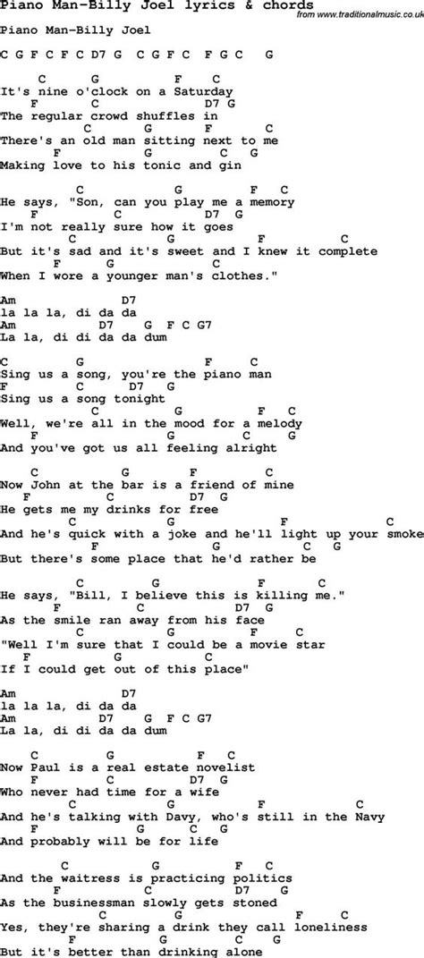 here in my room lyrics song lyrics for piano billy joel with chords for ukulele guitar banjo etc check out