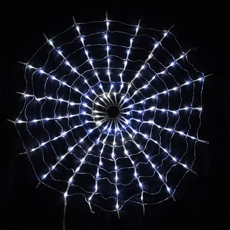 160 led multi function white spiders web net lights