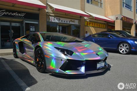 holographic car lamborghini aventador spotted in mind warping holographic wrap