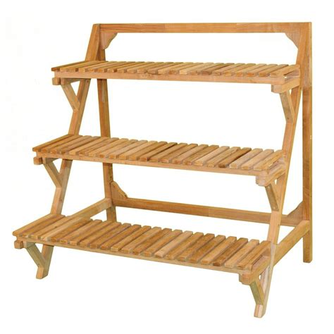 Plant Rack Outdoor by Shop Jewels Of Java 39 In Indoor Outdoor Rectangular Wood Plant Stand At Lowes