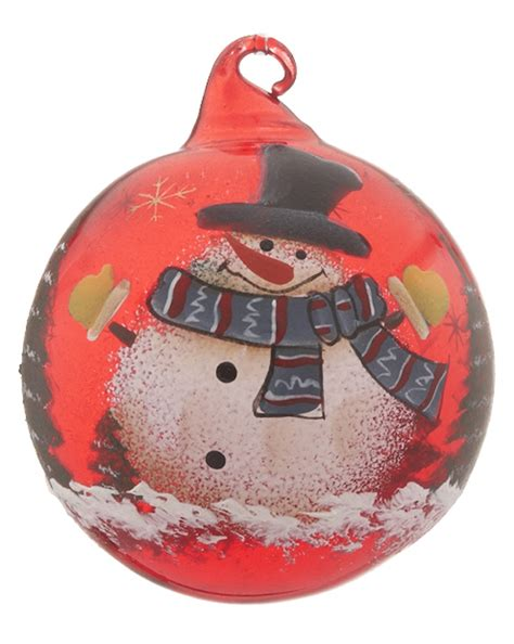 red glass ball snowman top hat personalized ornament