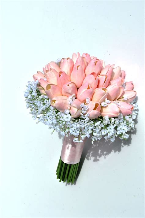 Wedding Bouquet Tulips by Vintage Style Pink Real Touch Tulip Small Bridal Wedding