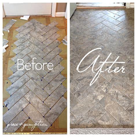 diy herringbone peel  stick tile floor grace gumption
