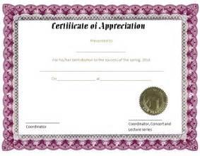 Purple Certificate Template by Certificates Of Appreciation Free Certificate Templates