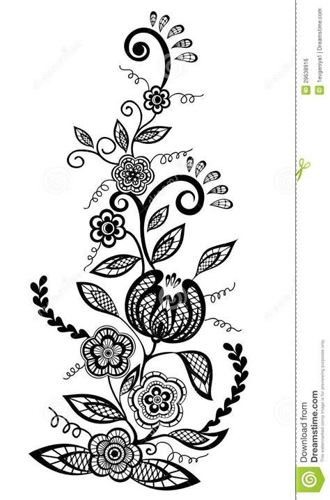 elemento preto e branco do projeto das flores e das folhas