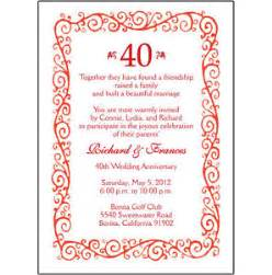 25 personalized 40th wedding anniversary invitations ap 002 ebay