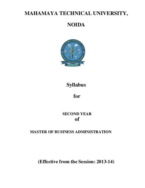 State 2 Year Mba by Mba 2nd Year Syllabus 2013 14