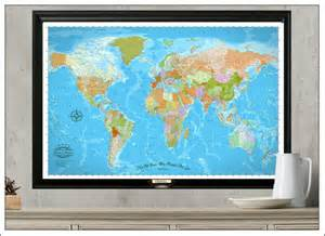 Framed World Map With Pins by Push Pin Travel Map World Travel Map By Watercolormaps