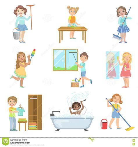 imagenes de tareas virtuales kinderen die met de lente het schoonmaken helpen vector