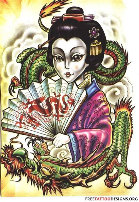 tattoo geisha dragon tattoo of a dragon wrapped around a geisha yes please