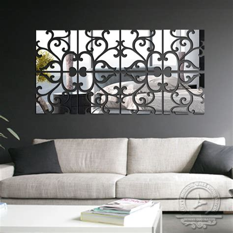 diy living room wall art diy 4lot set 3d home decoration acrylic mirror wall