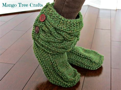 knitting patterns for slipper boots mango tree crafts knitted slipper boots