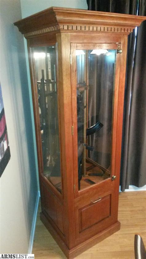 for sale trade gun cabinet solid wood holds 8 rifle s