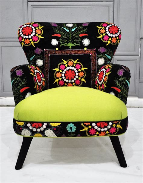 suzani fabric chair patchwork armchair with suzani and neon green velvet