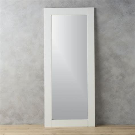 32x76 leaning white floor mirror cb2