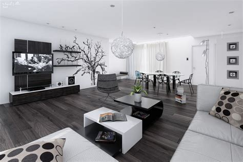 Modern Black And White Living Room by 14 Black And White Living Dining Room Interior Design Ideas