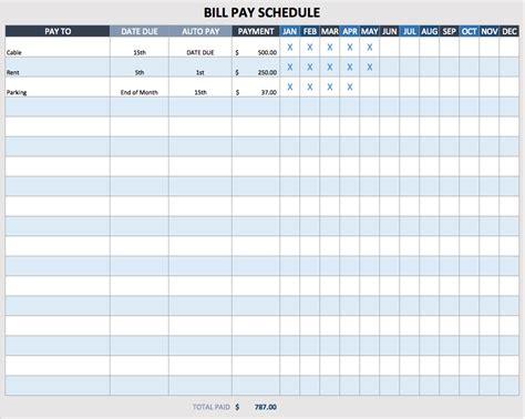 bill payment template payment schedule template template business