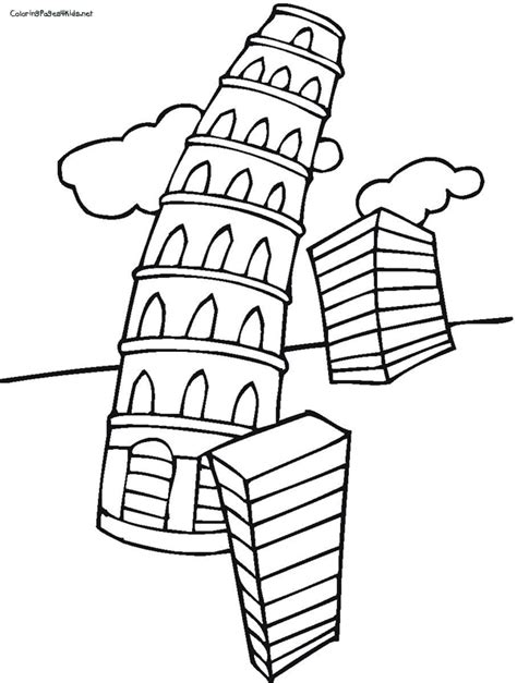 Leaning Tower Of Pisa Clip Art Cliparts Co Leaning Tower Of Pisa Coloring Page