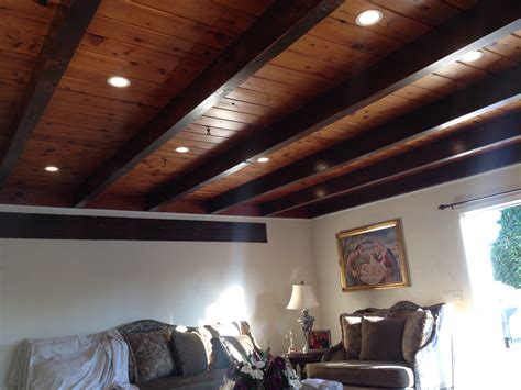 ceiling beams with recessed lights living room