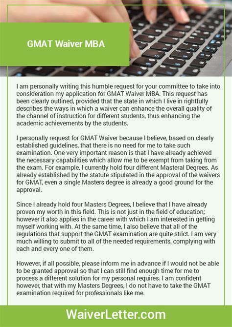 Gmat Waiver Request Letter Exle Writing A Stunning Gmat Waiver Mba Waiver Letter