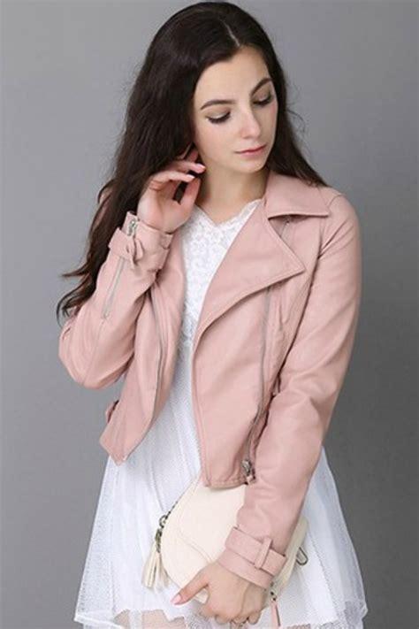 Jaket Semi Kulit Pu Leather Mondy jaket wanita pink pu leather jacket jyw170515pink