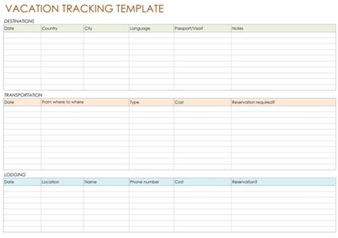 5 Best Vacation Tracking Templates To Track Your Vacations Vacation Template