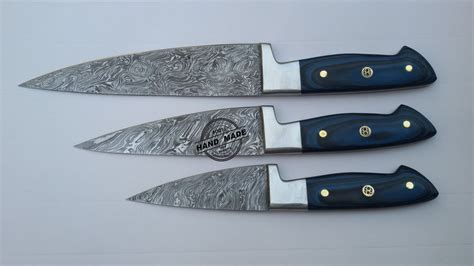 kitchen chef knives lot of 3 pcs damascus kitchen chef s knife custom handmade