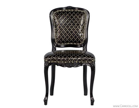 Gold Accent Chair Monark Accent Chair In Embossed Black With Gold Leather For Sale At 1stdibs