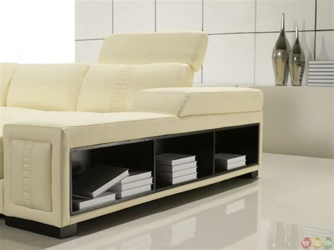 sofa shelf cream italian leather modern sectional sofa with shelves