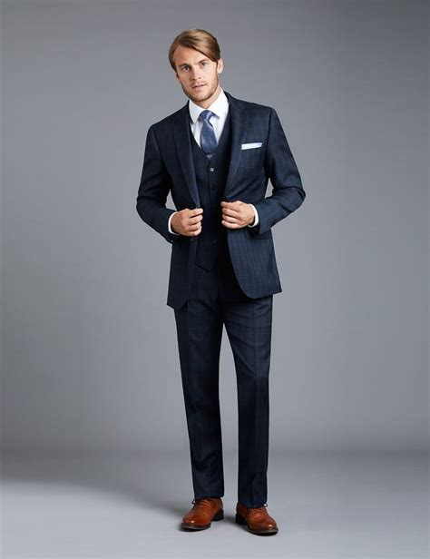 Jaspria Jas Exclusive Blue Formal s navy and blue big overcheck slim fit suit