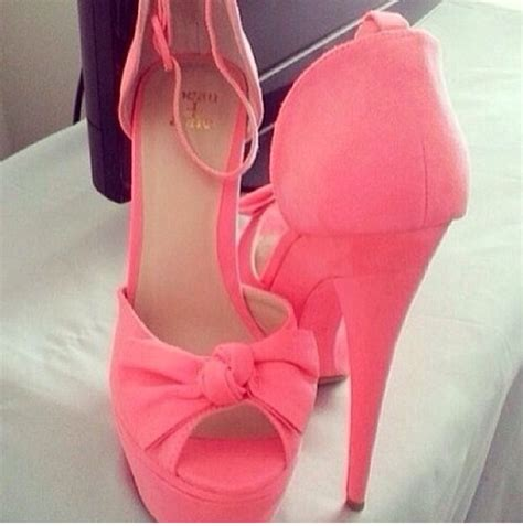 pink shoes high heels bow shoes shoes