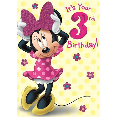 Baju Anak Branded Hello Disney Minnie Mouse 3rd birthday disney minnie mouse birthday card 25455550