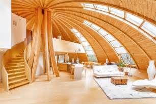 wood home interiors flying saucer shaped house takes design to new heights