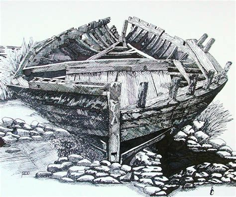 old boat drawing by davo - Old Boat Drawing