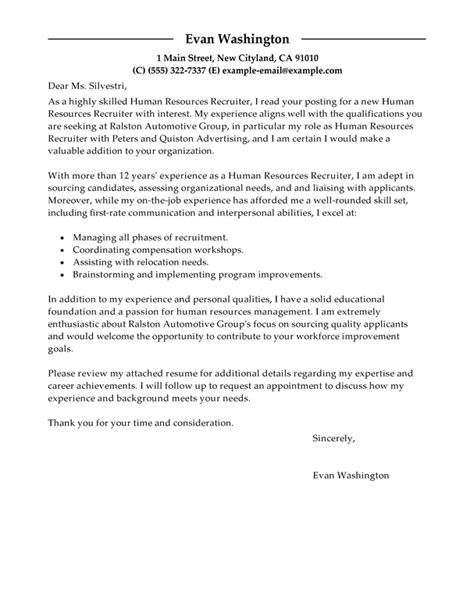 recruiter cover letter exles best recruiting and employment cover letter exles