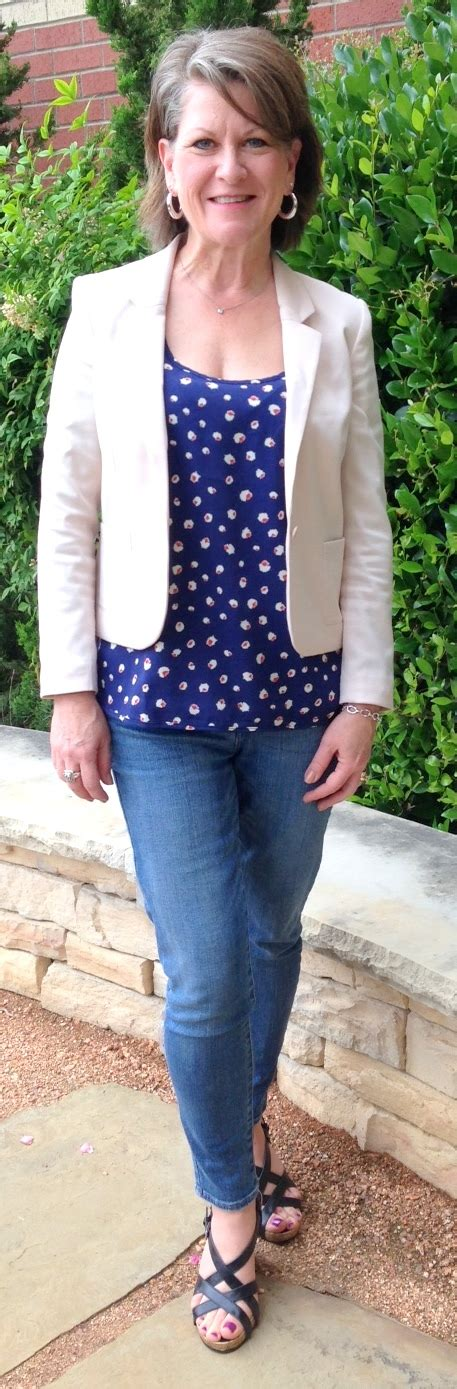 spring fashion 50 year old love the blouse with shorter blazer my style