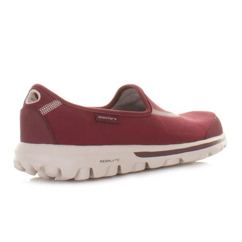 Go Walk Skechers by Womens Skechers Go Walk Burgundy Comfort Sports Trainers