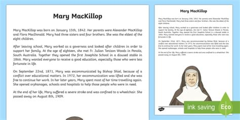 recount text biography artis mary mackillop biography factual recount writing sle