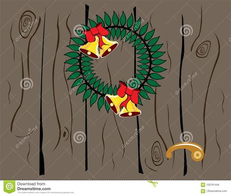 wood pattern card stock christmas wreath on a door stock vector illustration of