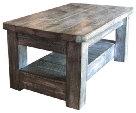 weathered grey coffee table with shelf rustic coffee