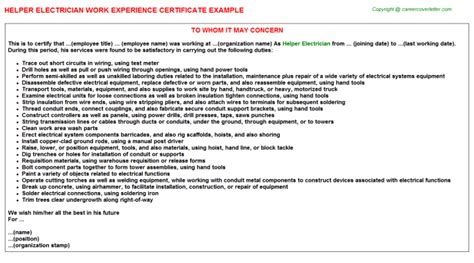 Work Experience Certificate Of Electrician abrasive grader helper work experience letters
