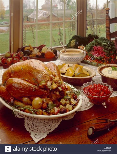thanksgiving table with turkey thanksgiving table setting turkey dinner stock photo