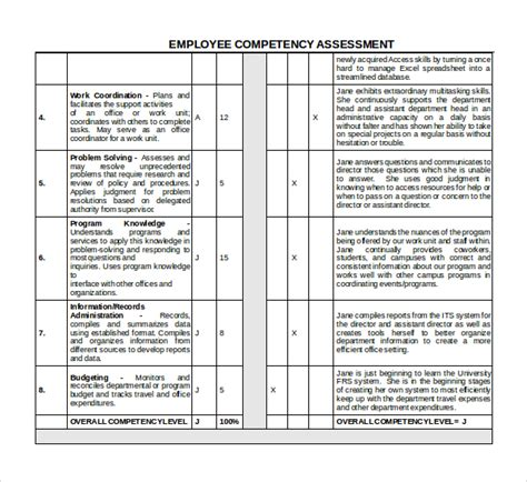 lln assessment template sle competency assessment template 6 free documents