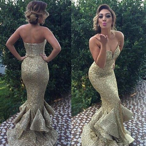 2016 gold mermaid prom dresses sequined ruffles trumpet style dress for graduation