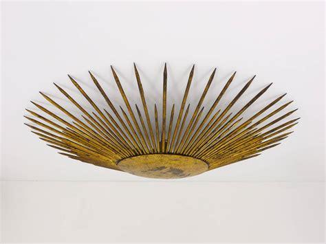 Sunburst Ceiling Light Sunburst Starburst Flush Mount Plafoniere Ceiling L Gilt Metal 1950s At 1stdibs