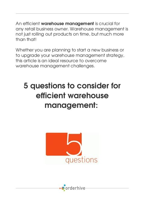 5 questions to consider for efficient warehouse management