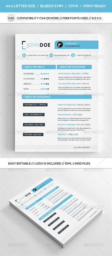 3 cv resume indesign templates clean clean resume template graphicriver
