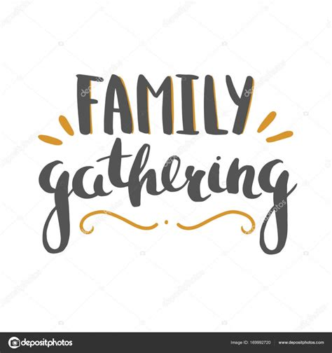 family gathering design vector family gathering lettering isolated on white stock