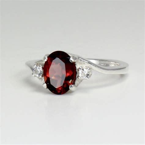 garnet ring sterling silver garnet ring silver