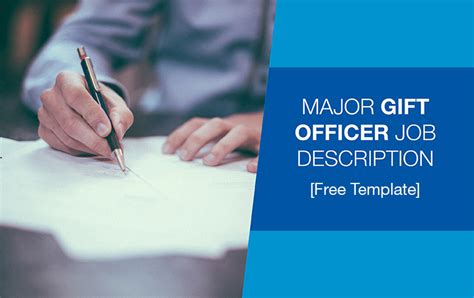 Major Gift Officer Job Description Free Template Donorsearch Major Gift Template